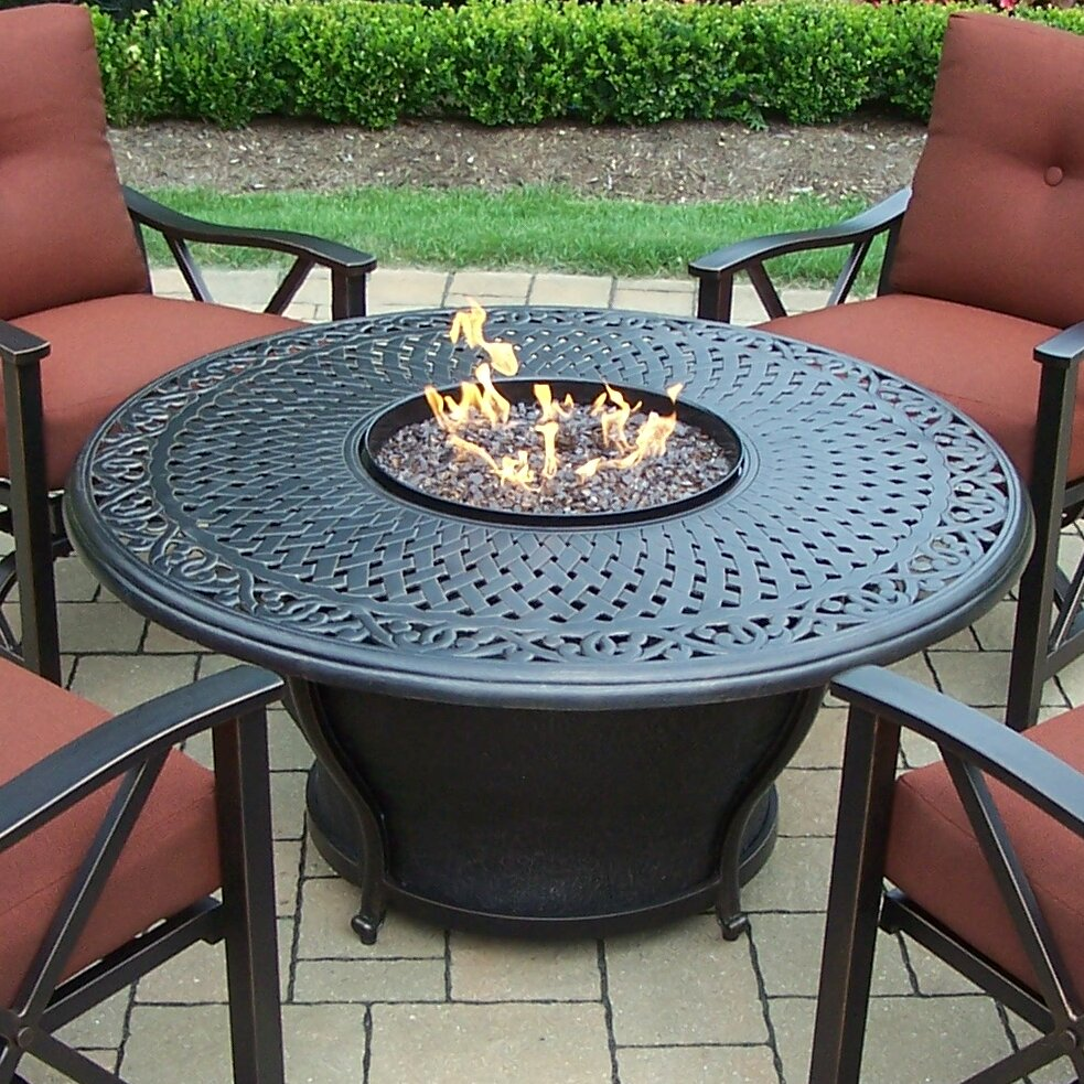 Charlton Home Zoraida Aluminum Gas Fire Pit Table And Chairs