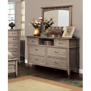 Hilliard 6 Drawer Double Dresser with Mirror
