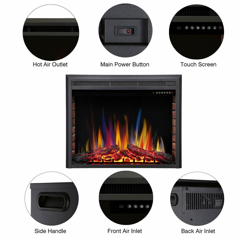 Charlton Home Tybalt Stove Heater Recessed Electric Fireplace