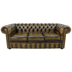 Revere Genuine Leather 3 Seater Chesterfield Sofa