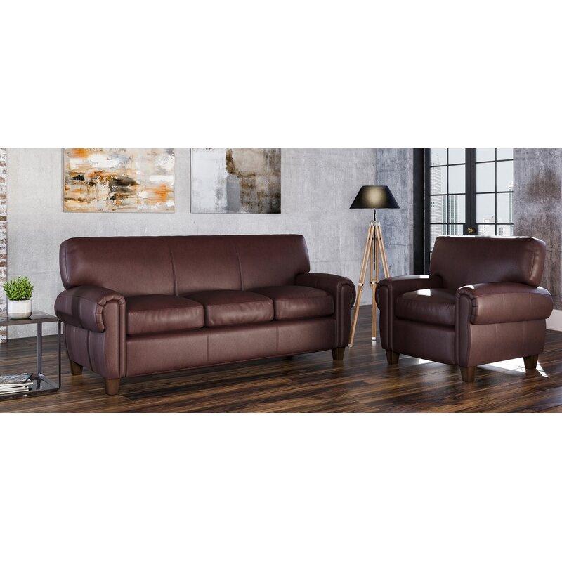 Westland And Birch Bailey 2 Piece Leather Living Room Set Wayfair