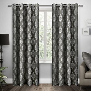 Damask Room Darkening Grommet Curtain Panels (Set of 2)