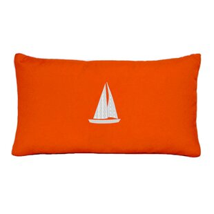 Hampden Sailboat Beach Outdoor Sunbrella Lumbar Throw Pillow