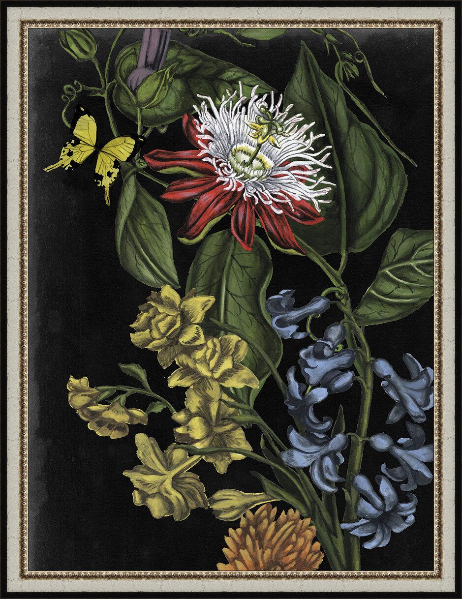 Astoria Grand Dark Floral Iii Framed Painting Print Wayfair