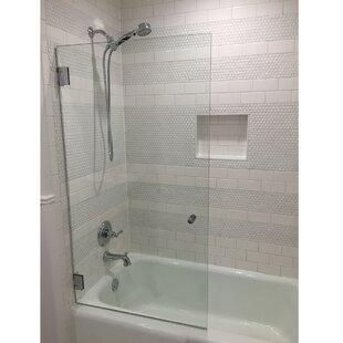 Reviews Fixed 34 x 58 Hinged Frameless Glass Panel ByGlass Warehouse