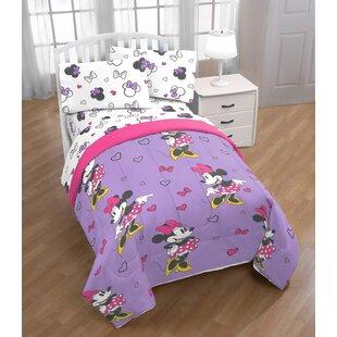 Disney Minnie Mouse Purple Love Reversible Comforter Set