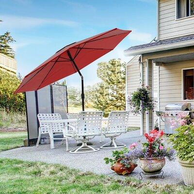 Pure Garden Solar Powered LED Patio Umbrella Fabric Colour: Red