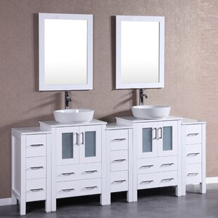 Abba 84 Double Bathroom Vanity Set with Mirror by Bosconi