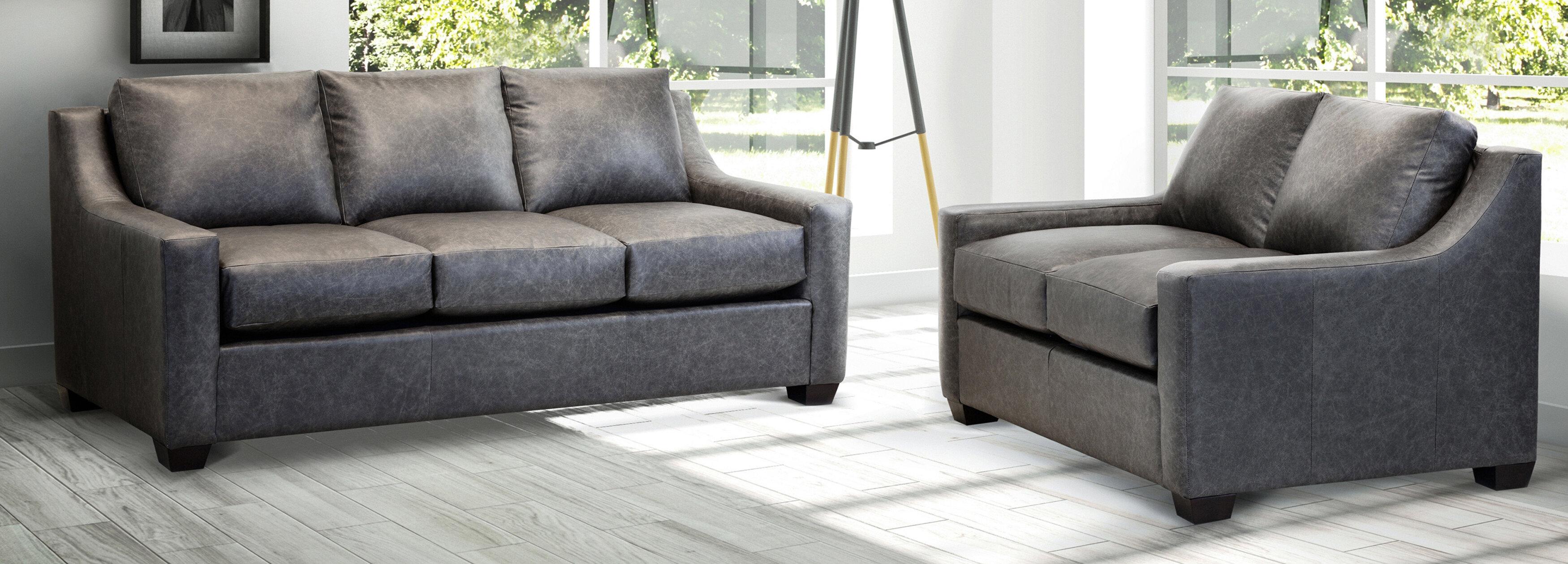 Ebern Designs Made In Usa Rosmunda Distressed Grey Top Grain Leather Sofa And Loveseat Wayfair Ca