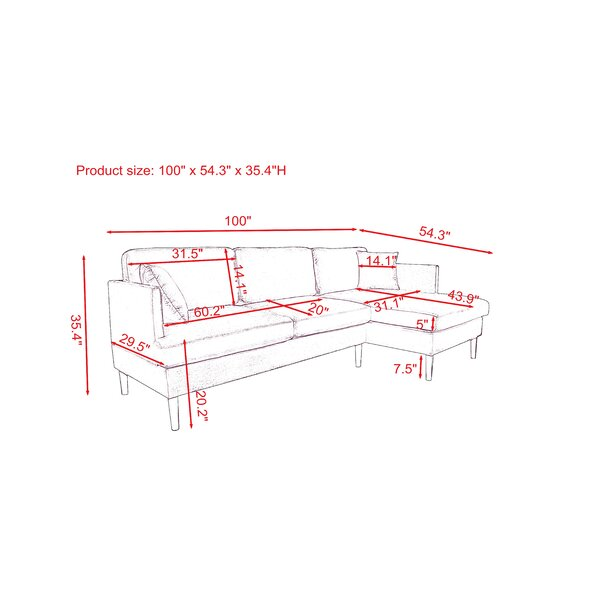 Maksim 100 英寸宽天鹅绒右手面对沙发和躺椅