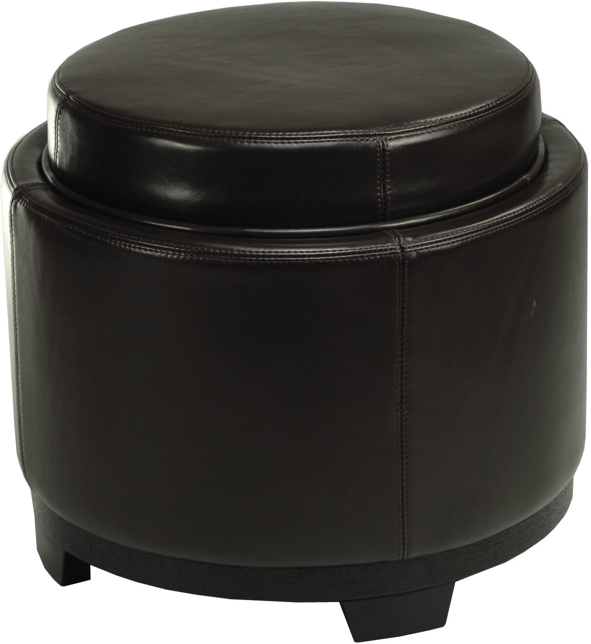 Andover Mills Maiden 19 Wide Faux Leather Round Storage Ottoman Reviews Wayfair