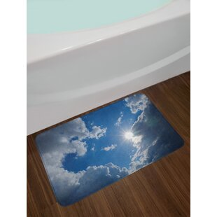 Gray Blue Landscape Bath Rug
