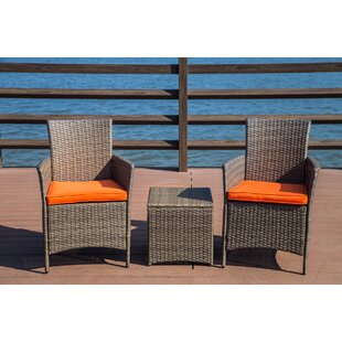 Zipcode Design Mike 3 Piece Rattan 2 Person Seating Group with Cushions