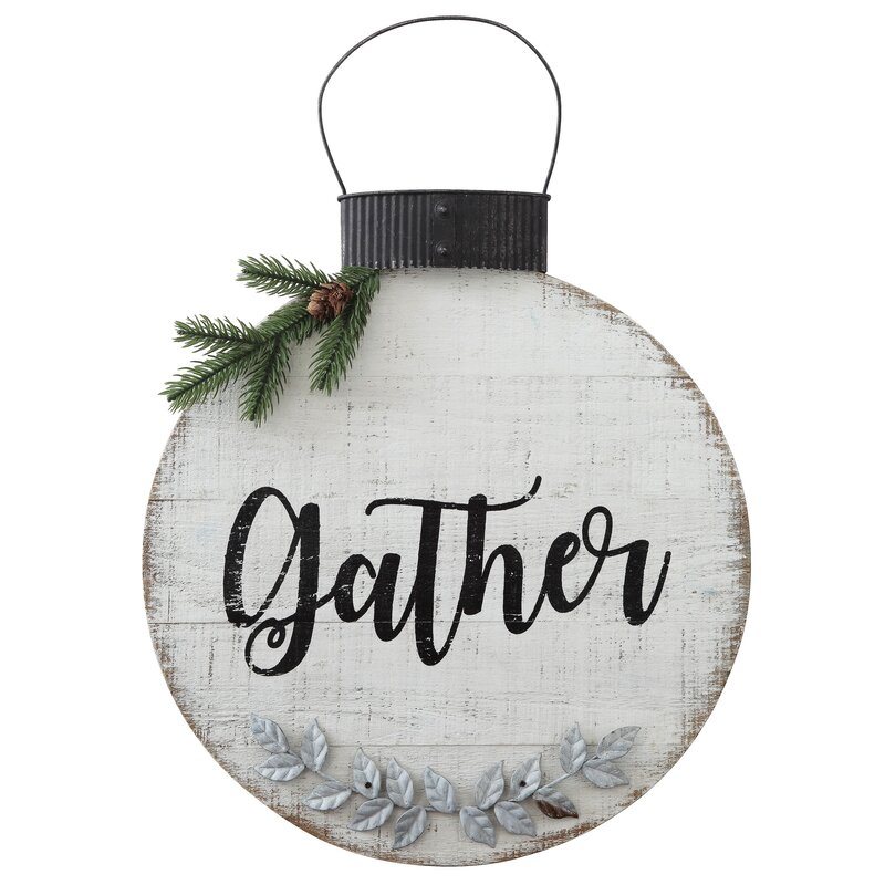 Gather Wood and Metal Ornament Shaped Wall Decor