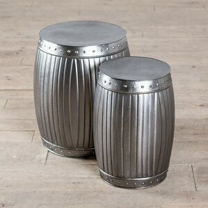 Fluted Round Barrels 2 Piece End Table Set