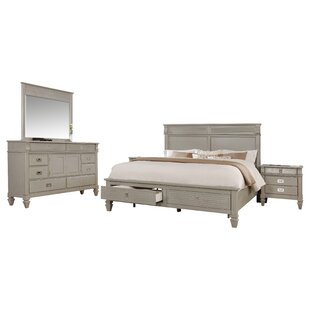 Vasilikos Solid Wood Construction Platform 4 Piece Bedroom Set