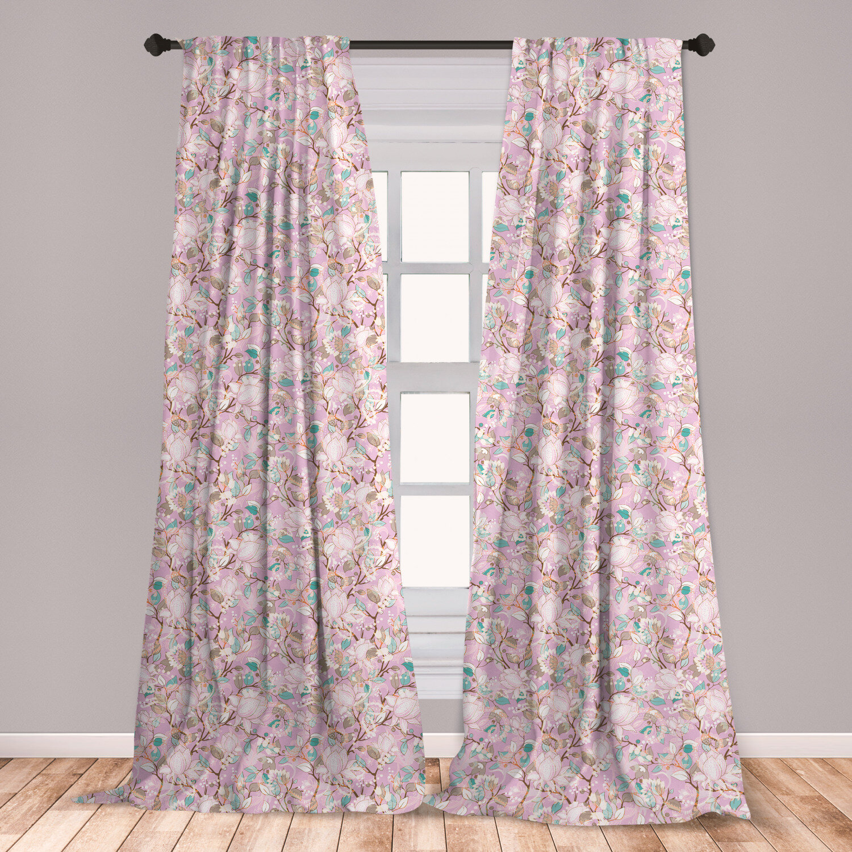 East Urban Home Jacobean Floral Room Darkening Rod Pocket Curtain Panels Wayfair