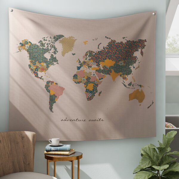 Bungalow Rose Adventure Await Map Tapestry And Wall Hanging & Reviews by Bungalow Rose