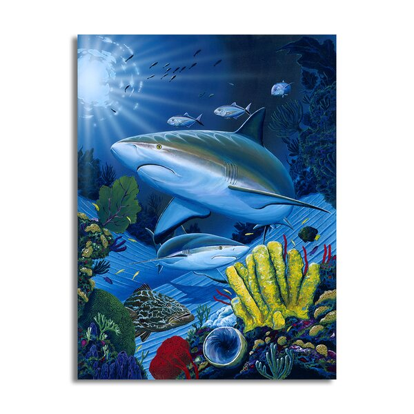 Zoomie Kids Shark Fest Canvas Art Wayfair