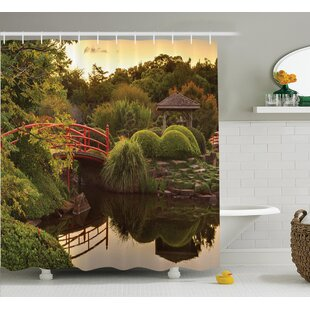 Ouinane Japanese Peaceful Garden Single Shower Curtain
