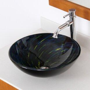 Elite Whirlpool Glass Circular Vessel Bathroom Sink