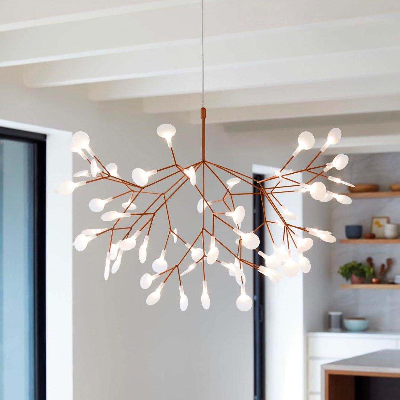 House Of Hampton Heberling 45 Light Unique Modern Linear Led Chandelier Reviews Wayfair