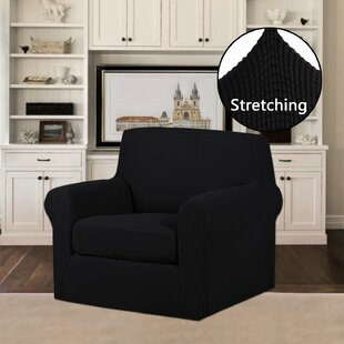 2 Piece Jacquard Stretch Fit Leather-Safe Box Cushion Armchair Slipcover Set By Symple Stuff