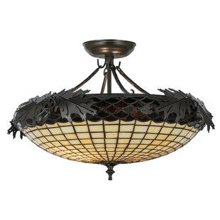 Meyda Tiffany Greenbriar Oak 2-Light Semi-Flush Mount