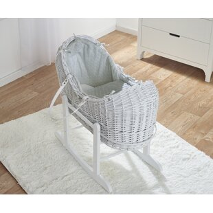 Devoted Kahekili Moses Basket With Stand Blue Sturdy Wicker Moses Basket White Stand The Latest Fashion Bassinets & Cradles Baby