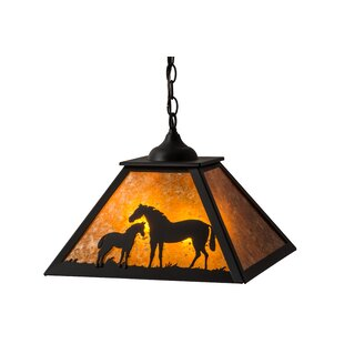 Meyda Tiffany Greenbriar Oak Mare and Foal 2-Light Dome Pendant
