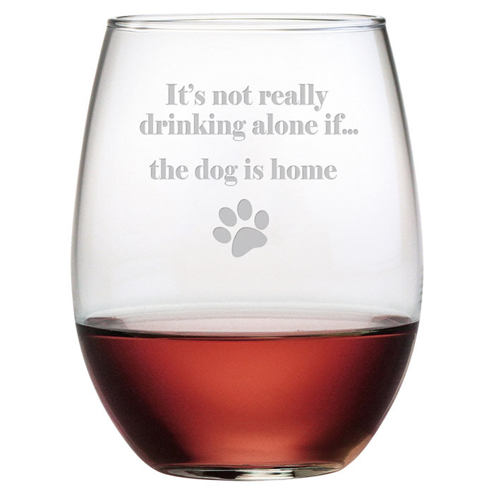 8e4abb222f9 Ventnor The Dog is Home 21 oz. Crystal Stemless Wine Glass