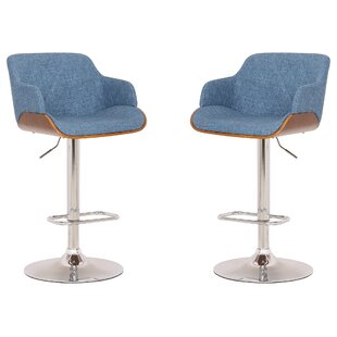 Aylesworth Adjustable Height Swivel Bar Stool (Set of 2) by Brayden Studio