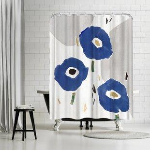PI Creative Art Blue Cluster Ii Single Shower Curtain