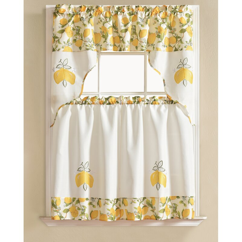 Gironde Lemon 3 Piece Kitchen Curtain Set
