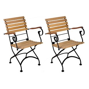 European Grande Café Folding Teak Patio Dining Chair with Arms (Set of 2)