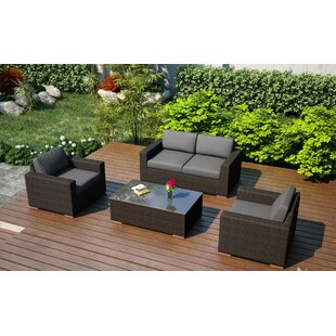 Harmonia Living Arden 4 Piece Teak Sofa Set with Sunbrella Cushions