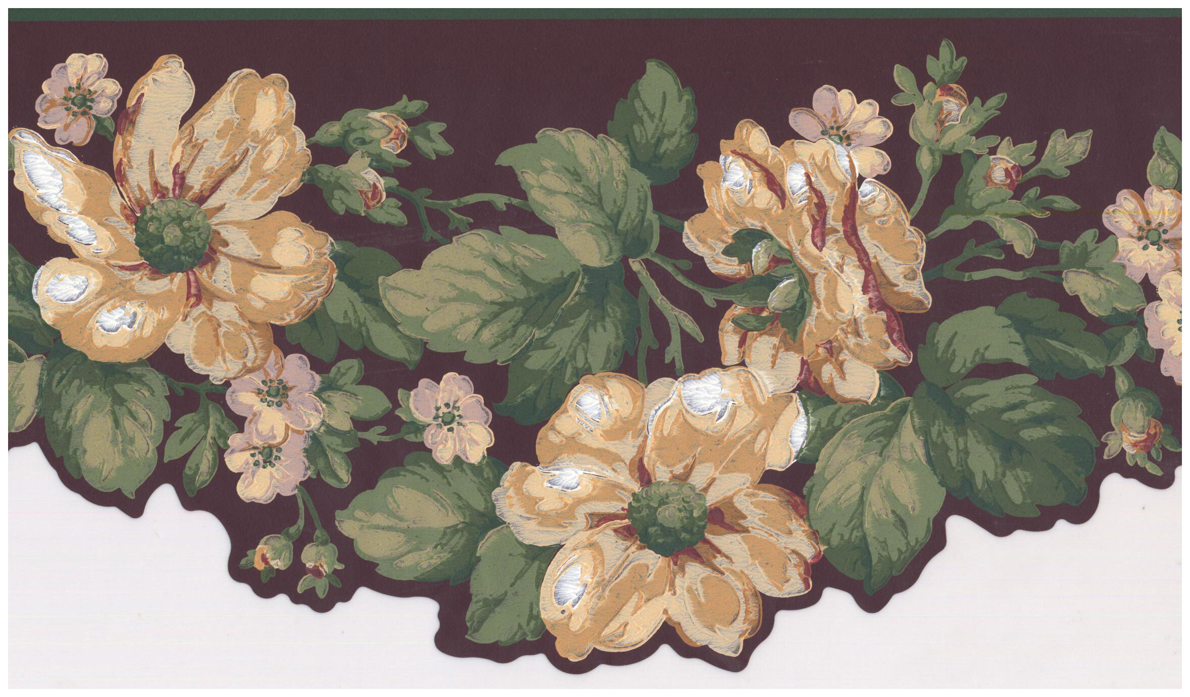 York Wallcoverings Marigold Flowers On Vine Scalloped 15 L X 7 W