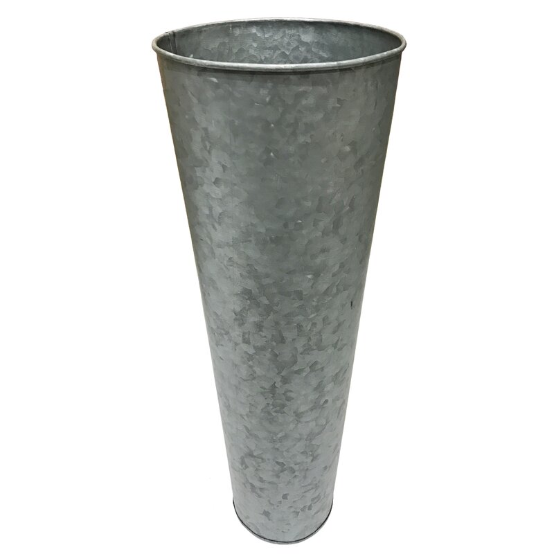 Slim Conical French Metal Flower Bucket