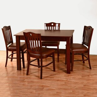 Kenner 5 Piece Solid Wood Dining Set by A..