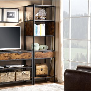 Ivy Bronx Nena Metal and Wood Display Stand with Drawer