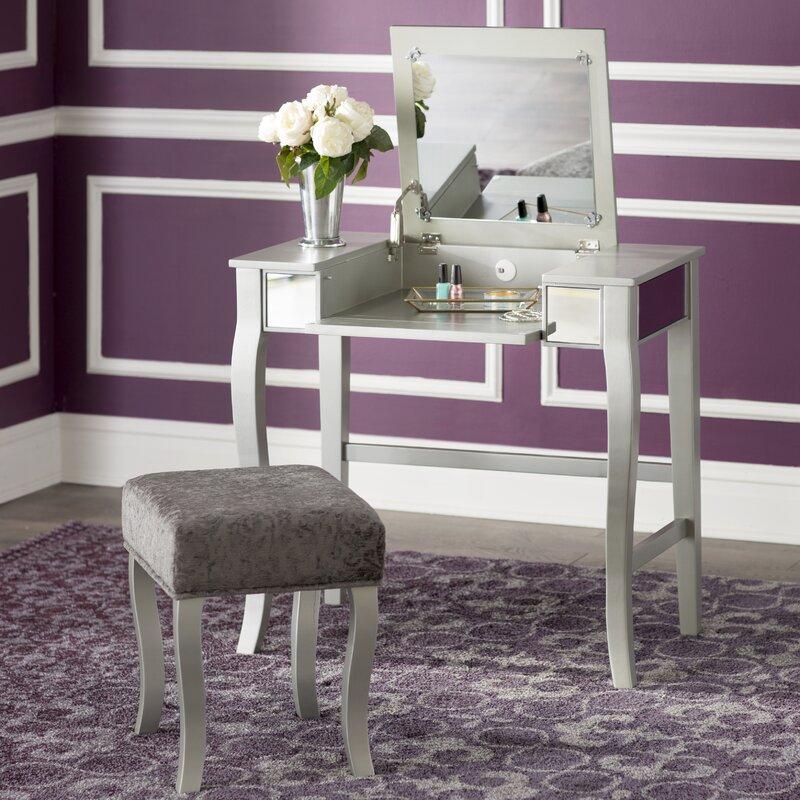 mirrored bedroom vanity. Strattenborough Vanity Set with Mirror Bedroom  Makeup Vanities You ll Love Wayfair
