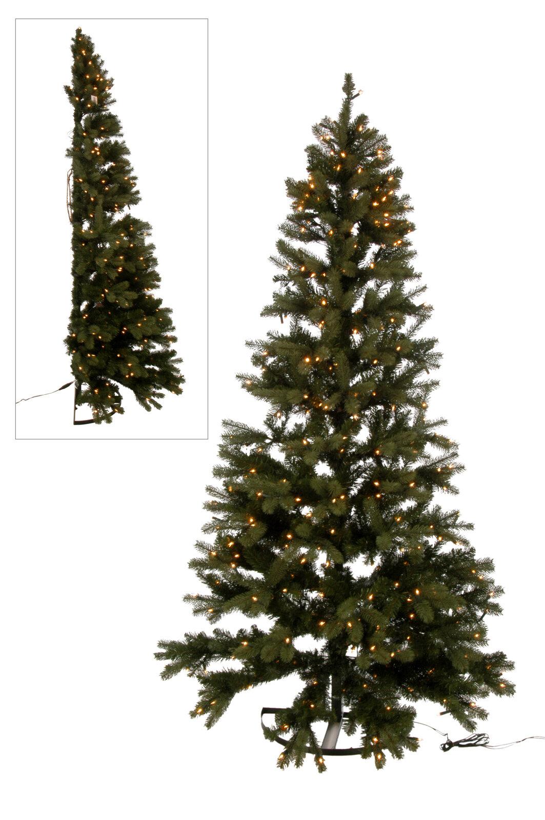 Half Christmas Tree.Half Wall Plastic 7 4ft Green Artificial Christmas Tree Coloured And White Lights