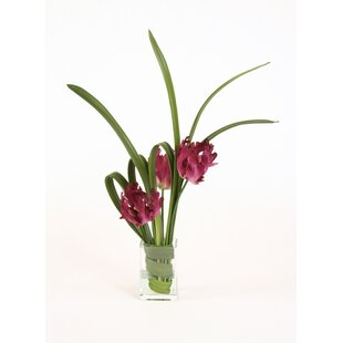 Waterlook Green and Pink Mixed Floral in Glass Vase