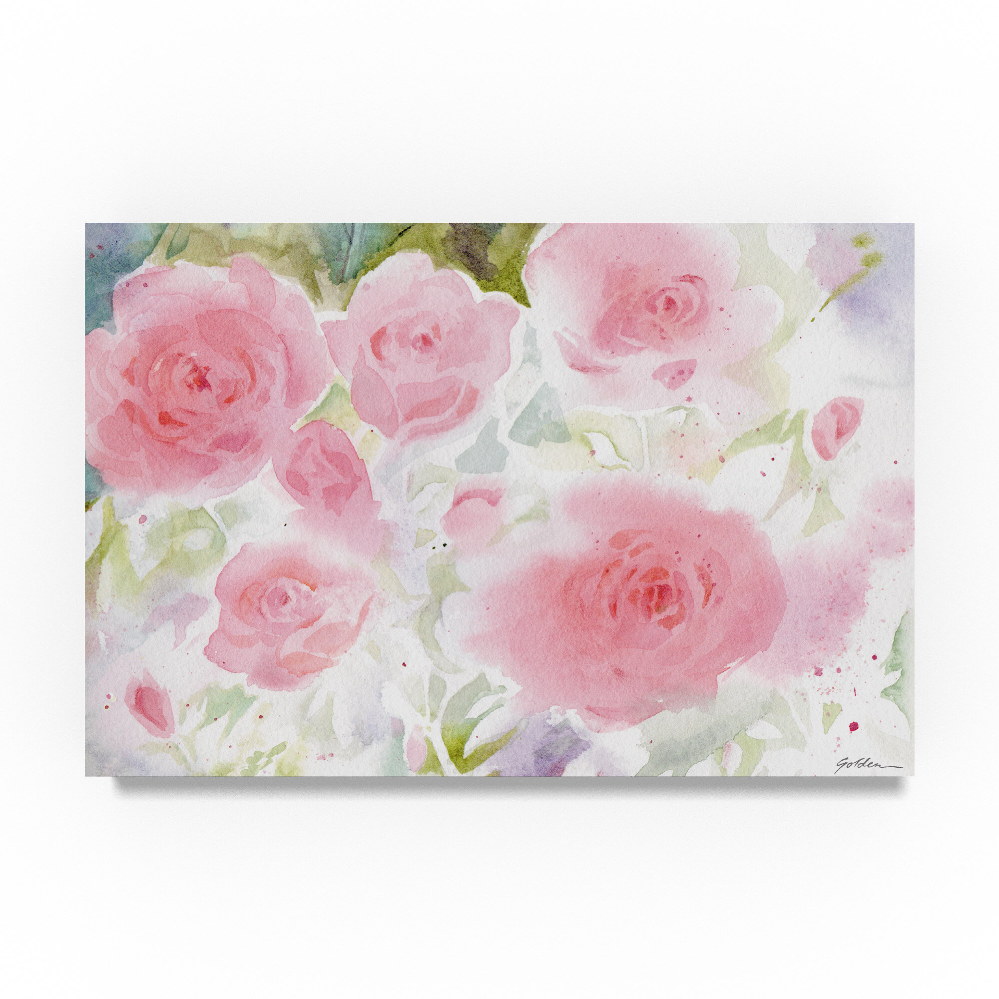 Winston Porter Garden Roses Watercolor Painting Print On Wrapped Canvas Wayfair