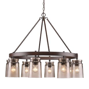 Loon Peak Rock River 8-Light Wagon Wheel Chandelier