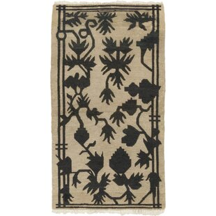 Purchase One-of-a-Kind Dewald Hand-Knotted Wool Beige/Black Indoor Area Rug By Isabelline