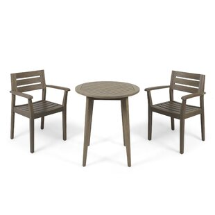 Gracie Oaks Sir Outdoor Acacia Wood 3 Piece Bistro Set
