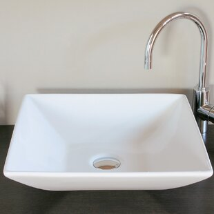 Read Reviews Ceramica Ceramic Square Vessel Bathroom Sink ByWS Bath Collections