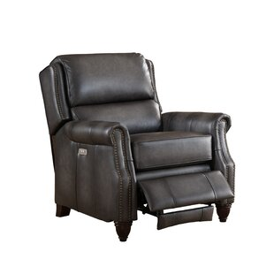 Great Reviews Emery Leather Power Recliner with USB Port Amax
