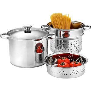 Stainless Steel 4 Piece Pasta Cooker Steamer Multi-Pot